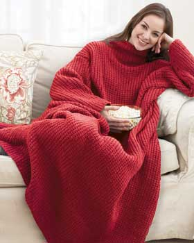 That's right, it's a knit Snuggie. I can die a happy person now.