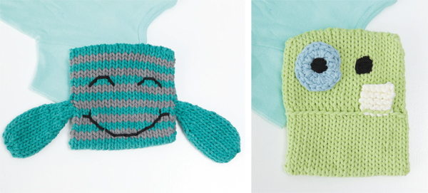 Free-pattern-knitted-monster-washcloth-set