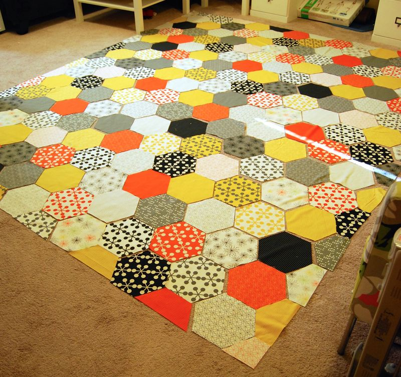 Laying Out Hexi Quilt 5:27:2015